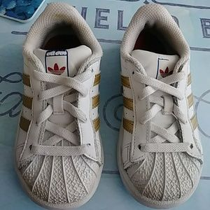 Gold and white girl adidas